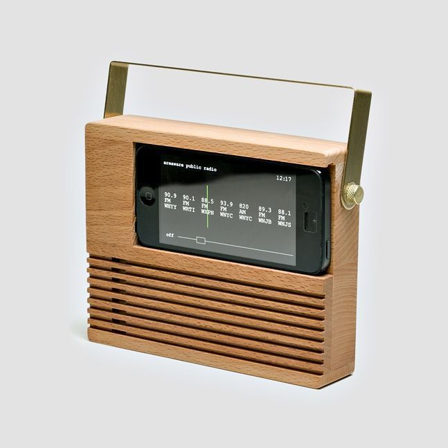 In our rush to make the latest and greatest tech, some great pieces have fallen to the wayside. This Radio Dock lets you bring back a little old-school radio cool to your sleek little iPhone. The beech wood and brass dock amplifies your iPhone 4 or 5's sound so no cables are needed, but if you did w… #iphonealarmsound,
