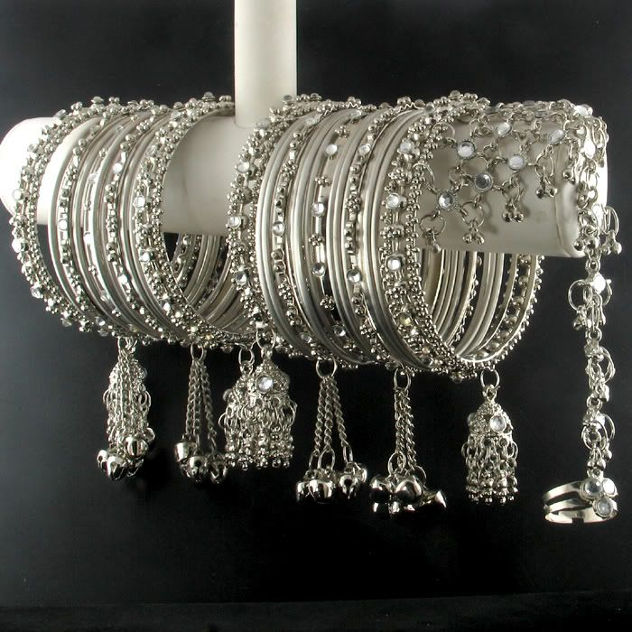 India Trend eBay | Details about SILVER KUNDAN BANGLE BRACELET+SLAVE BRACELET~34PCS ~2.6