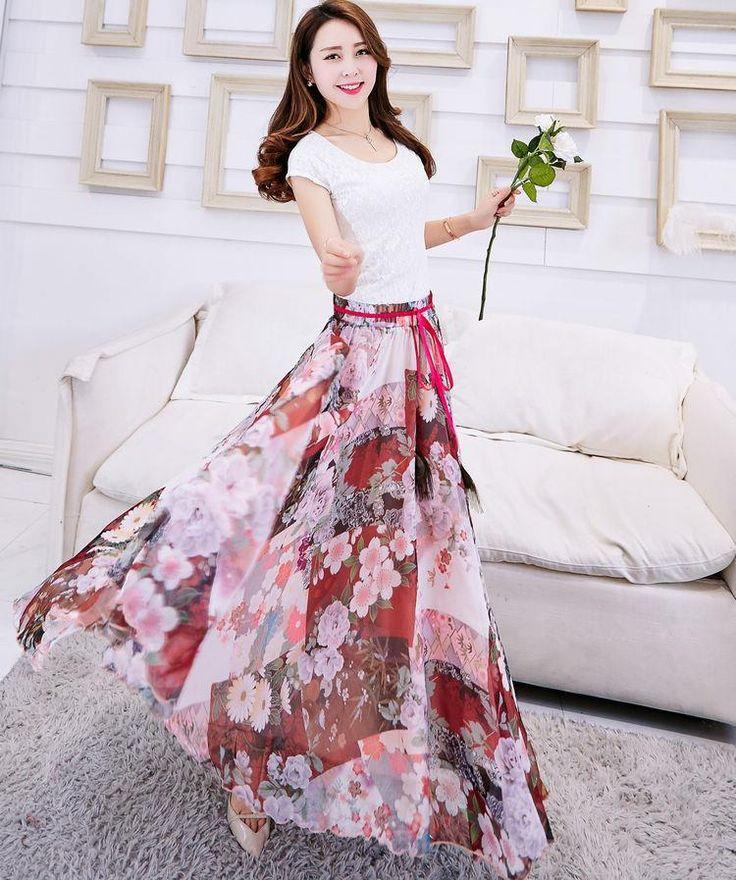Бесплатная доставка skrits летом стиль 2015 моды цветочек женщин макси юбки оригинал богемной шелк шифон длинные skrits pj390