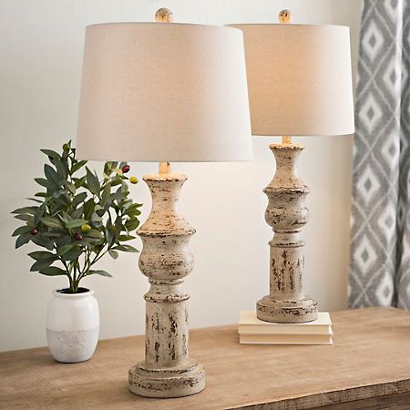 Simple Distressed Cream Table Lamps Set of