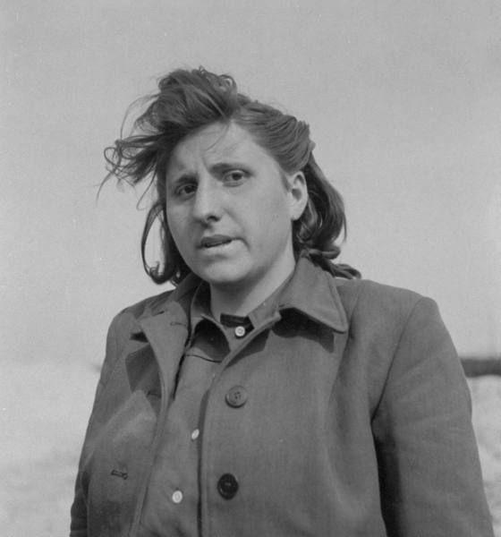 Portrait of Magdalene Kessal, 25, a domestic servant who served as SS girl at Bergen-Belsen concentration camp. Location:Bergen-Belsen, Germany, Date taken:May 1945