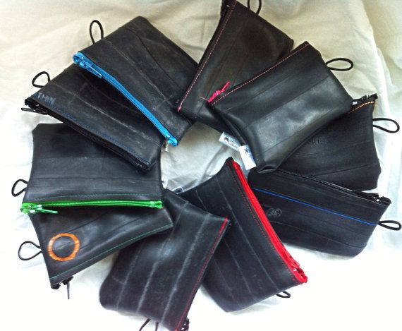 Recycled bicycle inner tube coloured zipper coin purse