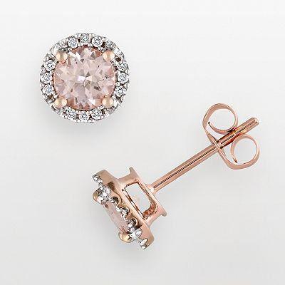10k Rose Gold Morganite and Diamond Accent Stud Earrings