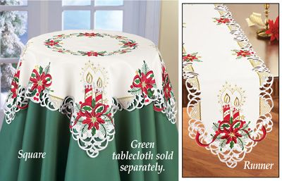 Christmas Poinsettia Candles Table Linens