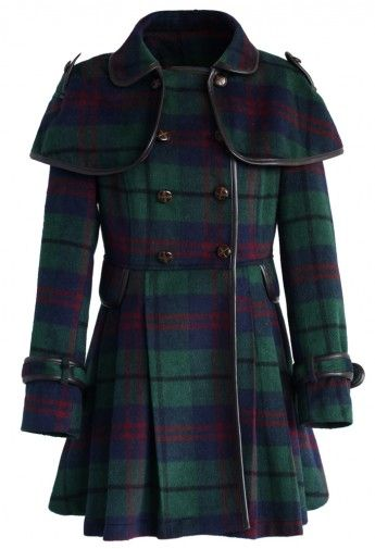 Double Breasted Woolen Skater Coat