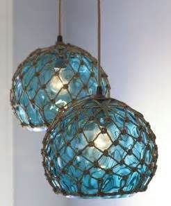 Coastal Gl Pendant Lamps Modeled After Antique Fishing Floats