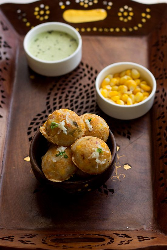 Masala Paniyaram with cheese and corn recipe with step by step instructions.