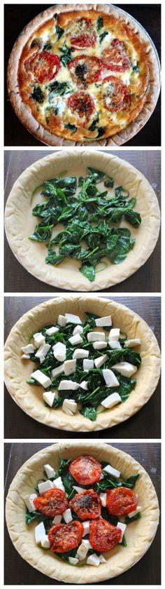Roasted Tomato, Mozzarella, and Spinach Quiche, an easy vegetarian brunch recipe.