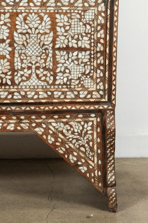 19th Century Antique Syrian Mother of Pearl Inlay Wedding Trunk 2