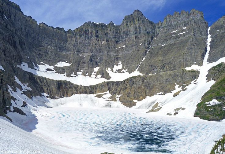 Iceberg Lake in Glacier National Park. The 4.7 mile trail (one way) to Iceberg Lake begins at Swiftcurrent Motor Inn in the Many Glacier Area.