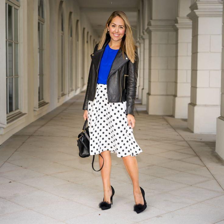 Black leather jacket, cobalt, polka dot skirt