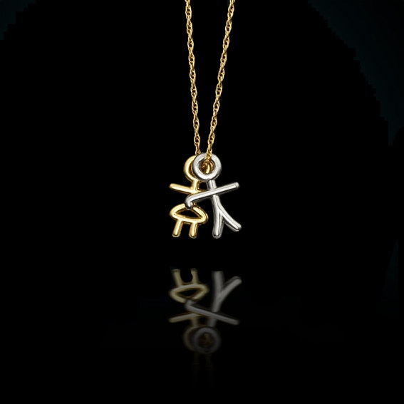 Boy and Girl Charm Necklace, Perfect Gift for Moms & Grandmothers, New Baby and Mother Day Gift, Modern Designer Personalized Jewelry.. $30.00, via Etsy.