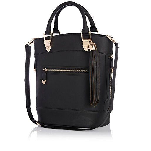 Black tassel bucket bag $80- riverisland.com