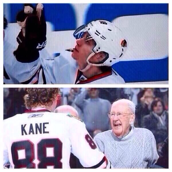 Kane signals his Grandfather upon scoring. His Grandfather and Friend passed just before the start of the Kings vs. Blackhawks game on 2/3/14. Blackhawks 5 - Kings 3.