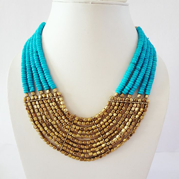Gorgeous torquoise beaded necklace by Chobhi