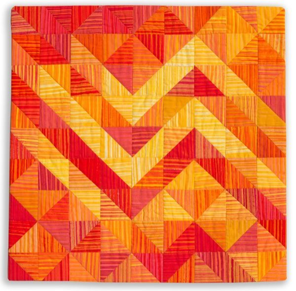 Moving On - 18x 18 art quilt red orange yellow
