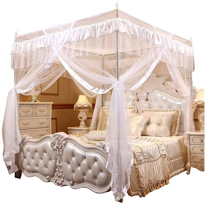 Mengersi Princess 4 Corners Post Bed Curtain Canopy Mosquito Netting White Twin Review Bed Curtains Bed Canopy Bed Frame