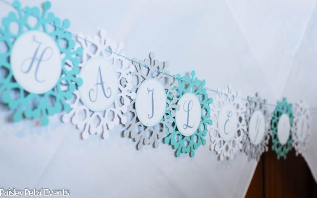 winter wonderland little girl party | Winter wonderland snowflake banner