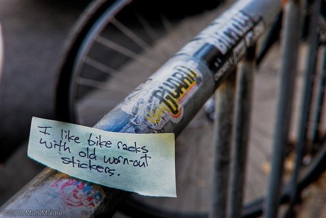 I like bike racks with old worn-out stickers
