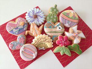 日本人のおやつ♫(^ω^) Japanese Sweets 和風モチーフクッキー。Japanese motif cookies