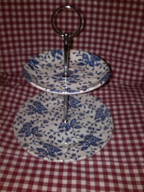 Royal Tudor Grindley Bouquet Blue Etagere (zelffabrikaat met koffieschoteltje en ontbijtbordje)