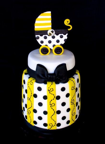 Bee Baby Shower Cake - by CuteologyCakes @ CakesDecor.com - cake decorating website