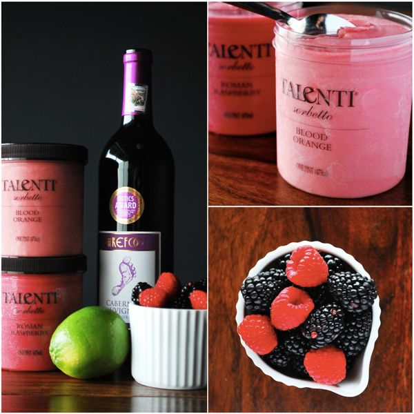 Talenti Frozen Sangria  Yields 10, 8-ounce servings    INGREDIENTS    2 pints Talenti Sorbetto (Blood Orange and Roman Raspberry)  1/2 lime, juiced  1/2 bottle of cabernet sauvignon or other dry red wine  1/4 cup mixed berries (optional)