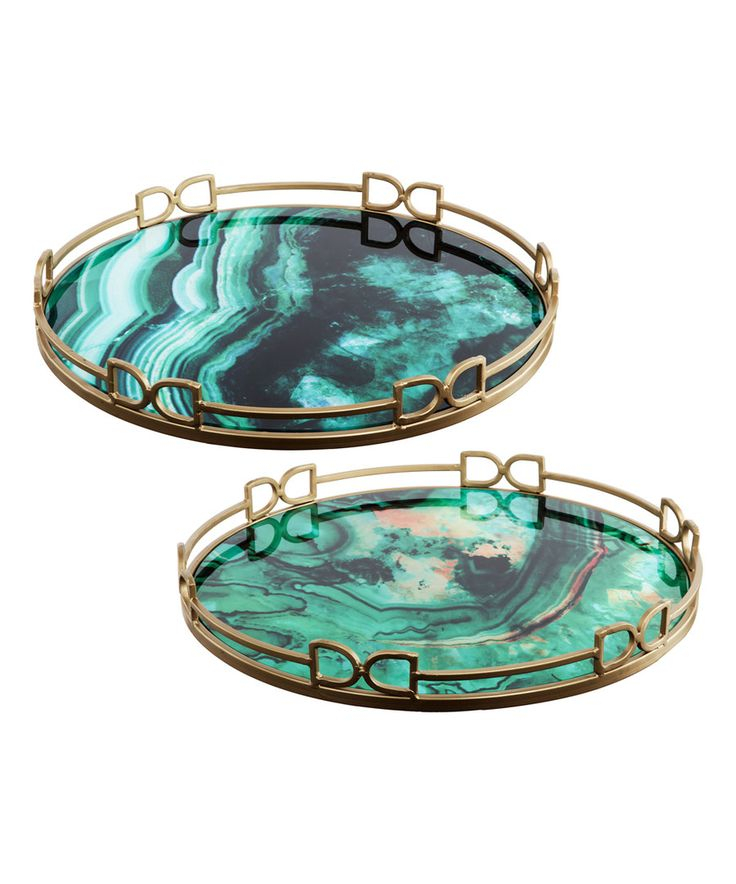 Look at this Green Glass Round Tray Set on #zulily today!