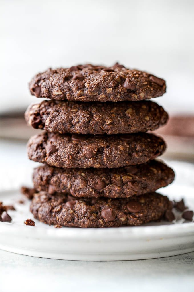 Flourless double chocolate oatmeal cookies that are soft, chewy, loaded with chocolate, and super easy to make with only one bowl and simple ingredients!