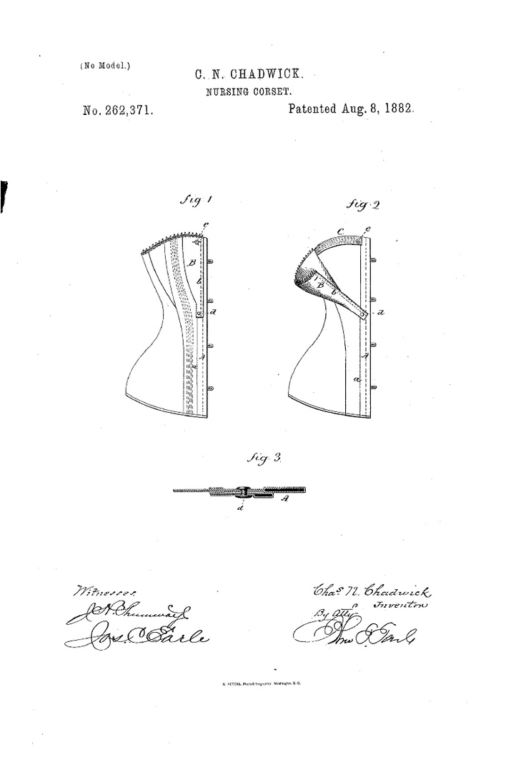 1882 Nursing corset  US patent 262,371  swinging busk