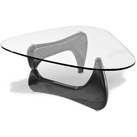 Noguchi Style Coffee Table, Red Color with Black Glass Top