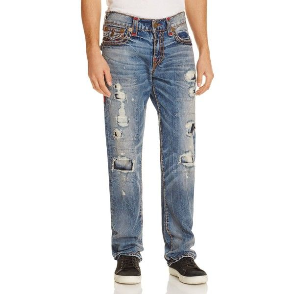 True Religion Ricky Relaxed Fit Jeans in Mended Brawl ($389) ❤ liked on Polyvore featuring men's fashion, men's clothing, men's jeans, mended brawl, men's relaxed fit jeans, mens relaxed boot cut jeans and true religion mens jeans