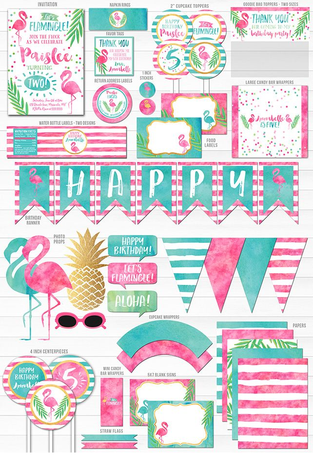 Printable Watercolor Flamingo Birthday Party Package Decorations | Invitation | Flamingle | Luau | Pool Party | DIY Tropical Summer Party | Signs | Flamingo Invitation | Cupcake Toppers | Food and Drink Labels | Favor Tags | Photo Props | Pink and Teal Decor