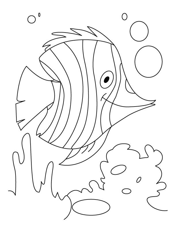 Fish Flutter In Water Coloring Pages