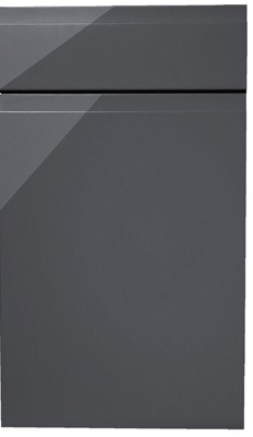 Handleless high gloss lacquered kitchen doors. Graphite grey. Can be done in any colour.