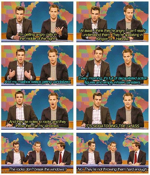 hahahaha. Zachary Quinto and Christopher Pine on SNL. #StarTrekIntoDarkness. hahahahaha, that is so funny!!