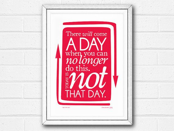 Print Typographic Inspirational Quote Motivational Wall Art Red White SALE