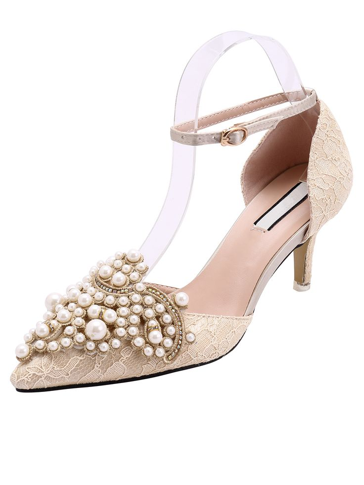 Apricot Point Toe With Pearl High Heeled Pumps 37.67