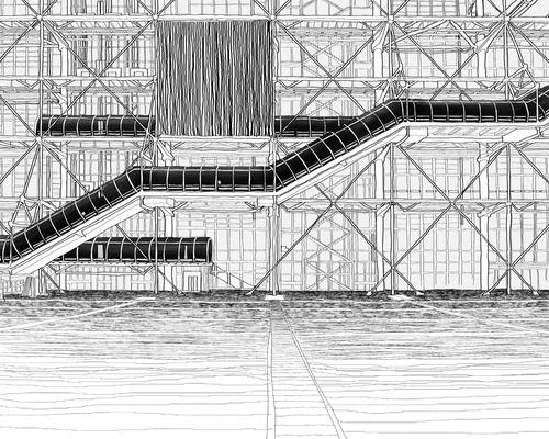 Centre Pompidou    Materials: canvas, digital print, computer graphic  Category: Digital  Original size: (h) 72.0 * (w) 90.0 cm    Printing on a canvas frame