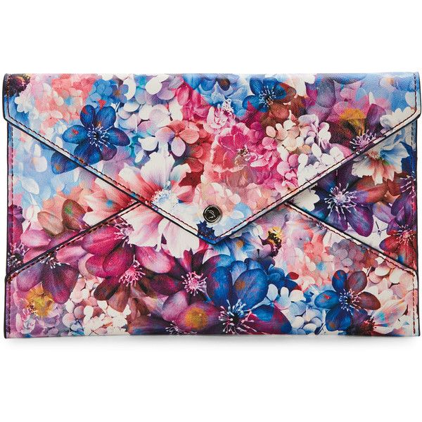 Danielle Nicole Floral Print Tina Envelope Clutch ($30) ❤ liked on Polyvore featuring bags, handbags, clutches, pink, pink clutches, flower print purse, flap handbags, strap purse and danielle nicole handbags