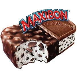 Maxibon! I was addicted to this:   Maxibon is a brand of ice cream sandwich made by Nestlé. It consists of a block of ice cream containing small chocolate chips with one end covered in chocolate, and the other sandwiched between two biscuits.