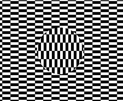 The Ouchi Illusion is not well understood. The illusionary motion and perceived depth may arise from the ambiguity formed at the circular contour with the adjoining vertical edges. In one interpretation the vertical bars can be perceived as being on the same depth plane as the horizontal bars -- a strictly two-dimensional image. Your visual sytem can also interpret this image as three-dimensional, where the vertical bars lie on a different depth plane than the horizontal bars. The circular…