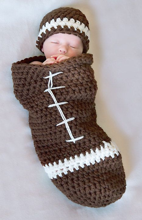 Free Printable Crochet Patterns For Baby Cocoons : Football cocoon and Beanie Pattern Newborn Crochet - new ...