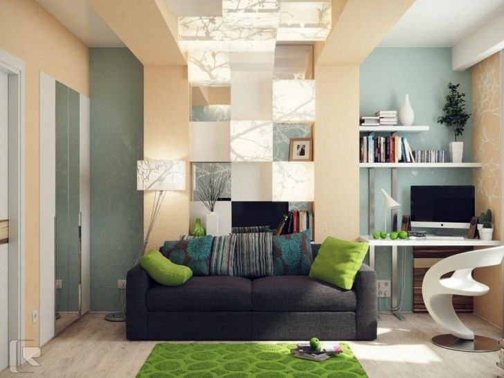 home office colors calming somewhat neutral walls with pops of color - Calming Office Colors