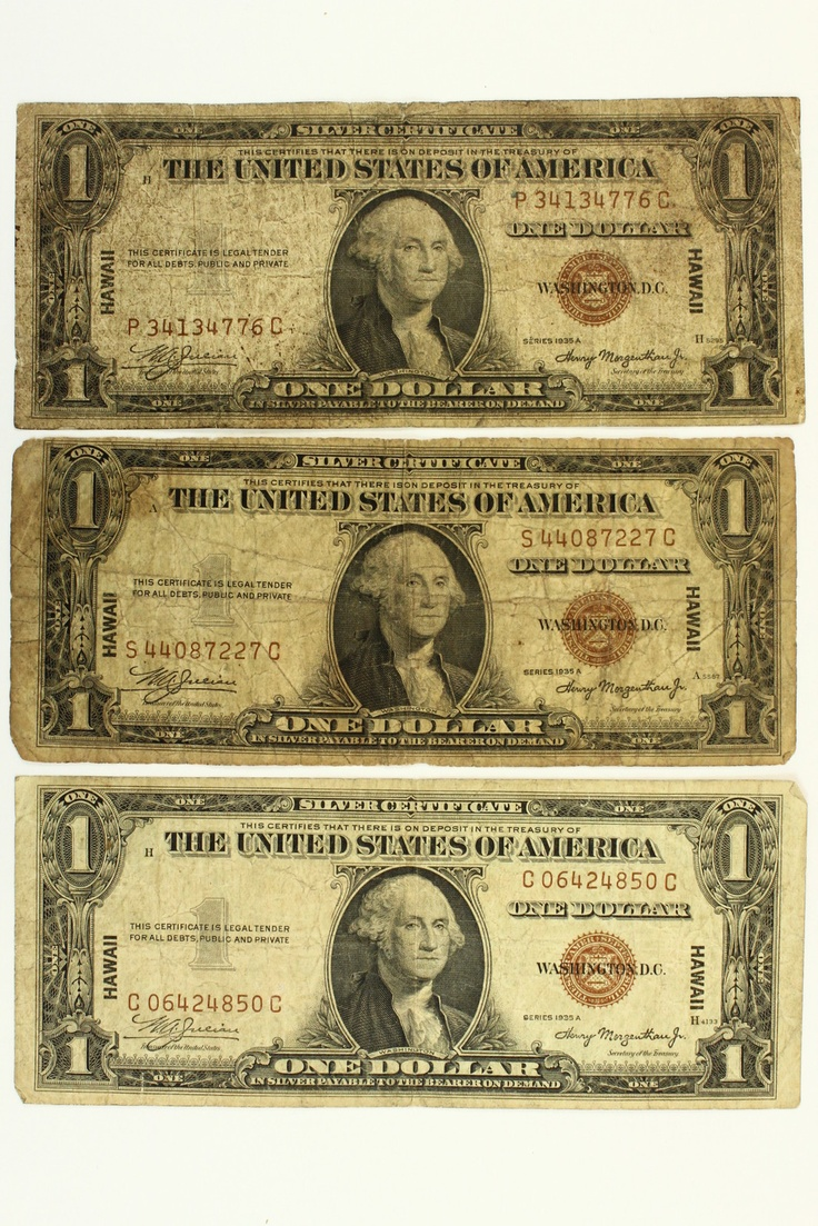 1935 A Lot of 3 - One Dollar Hawaii Silver Certificates Notes Brown Seal WWII