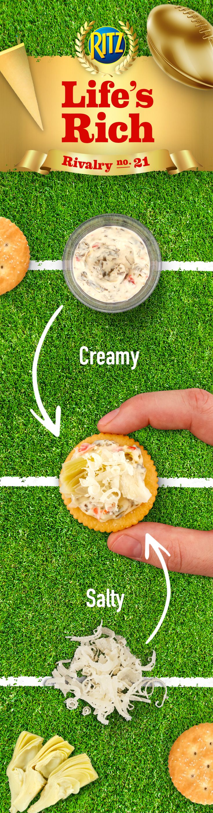 Football party? Nothing brings rivals together like a good appetizer. Create your mouth's fantasy team with creamy spinach dip paired up with salty Parmesan cheese. Two different flavors coming together to make baked Spinach Dip-Artichoke Toppers? That's a touchdown. Follow this easy and delicious recipe: 1. Top RITZ Crackers w/ spinach dip & artichoke hearts 2. Add Parmesan cheese. Have a ball with this creamy and salty appetizer!