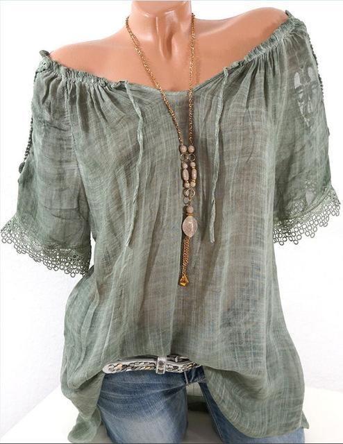 b996ef4265b Summer Women Blouse Lace Up Shirt Short Sleeve Off Shoulder Tops Slash Neck Loose  Casual Basic Plus size 5xl Blouses Shirts 2018