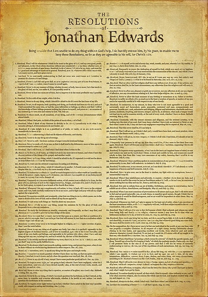 Jonathan Edwards' Resolution poster. $65.00. An absolute must for the future office.