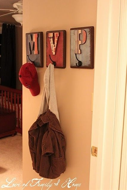 Cute idea for hooks for kids, with their initals:) - Click image to find more home decor Pinterest pins