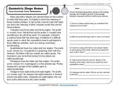 Geometric Shape Names | 3rd Grade Reading Comprehension Worksheet
